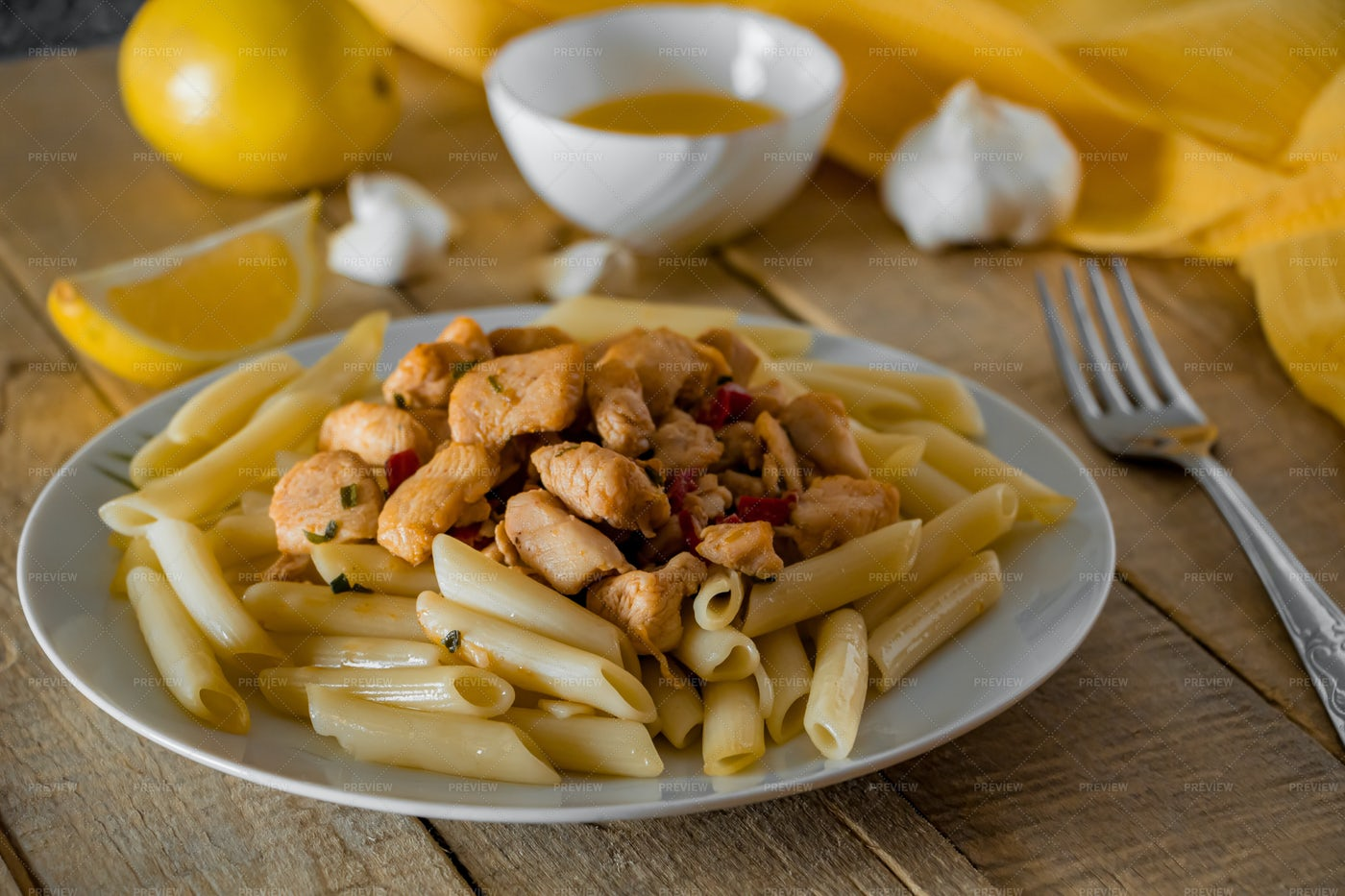 Penne Pasta With Chicken: Stock Photos