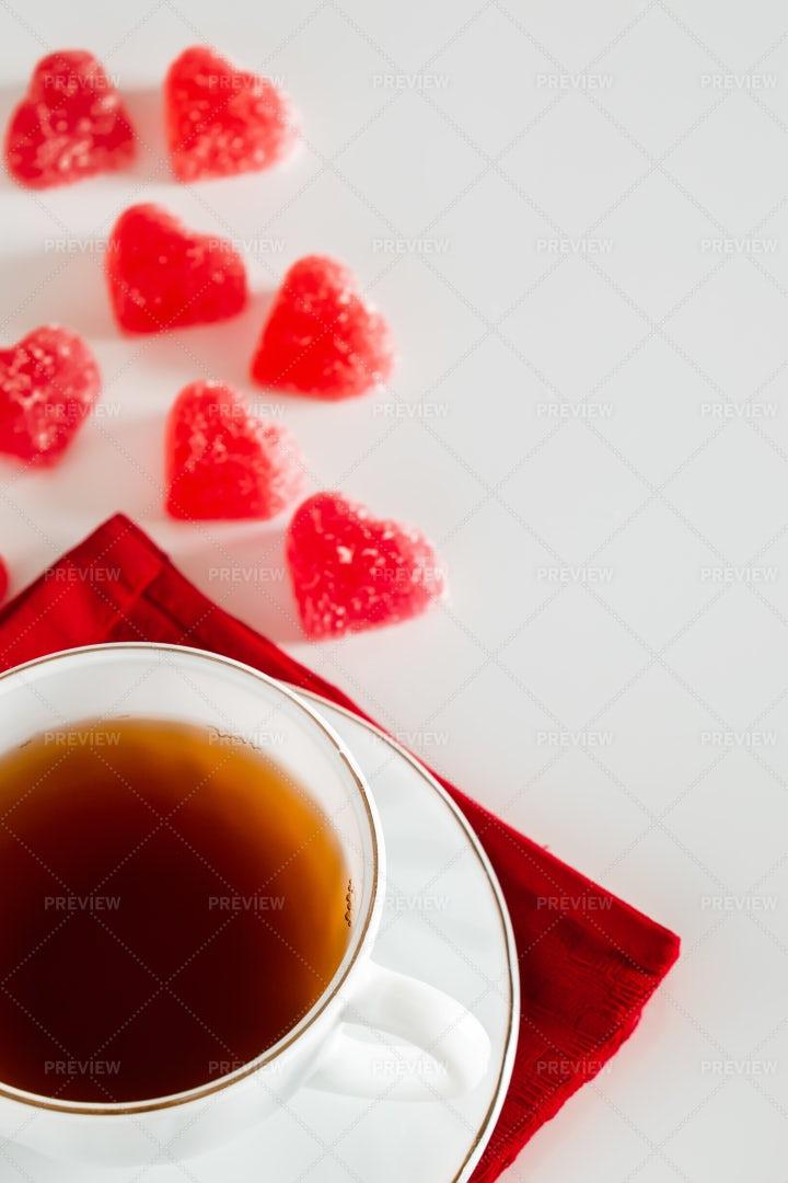 Tea And Candies: Stock Photos