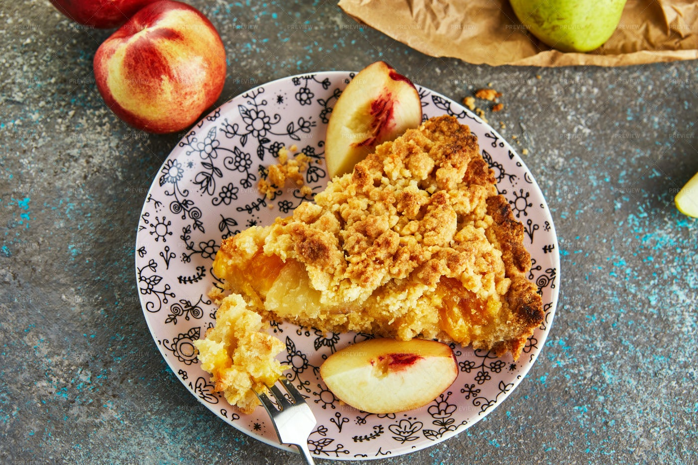 Slice Of Peach Pie: Stock Photos
