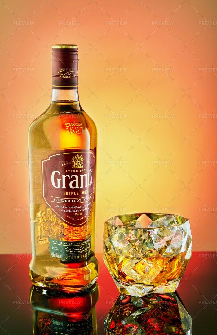 Bottle Of Whiskey Grants: Stock Photos