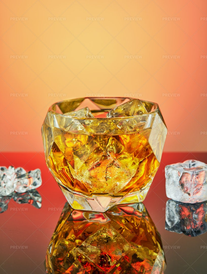 Crystal Goblet With Whiskey: Stock Photos