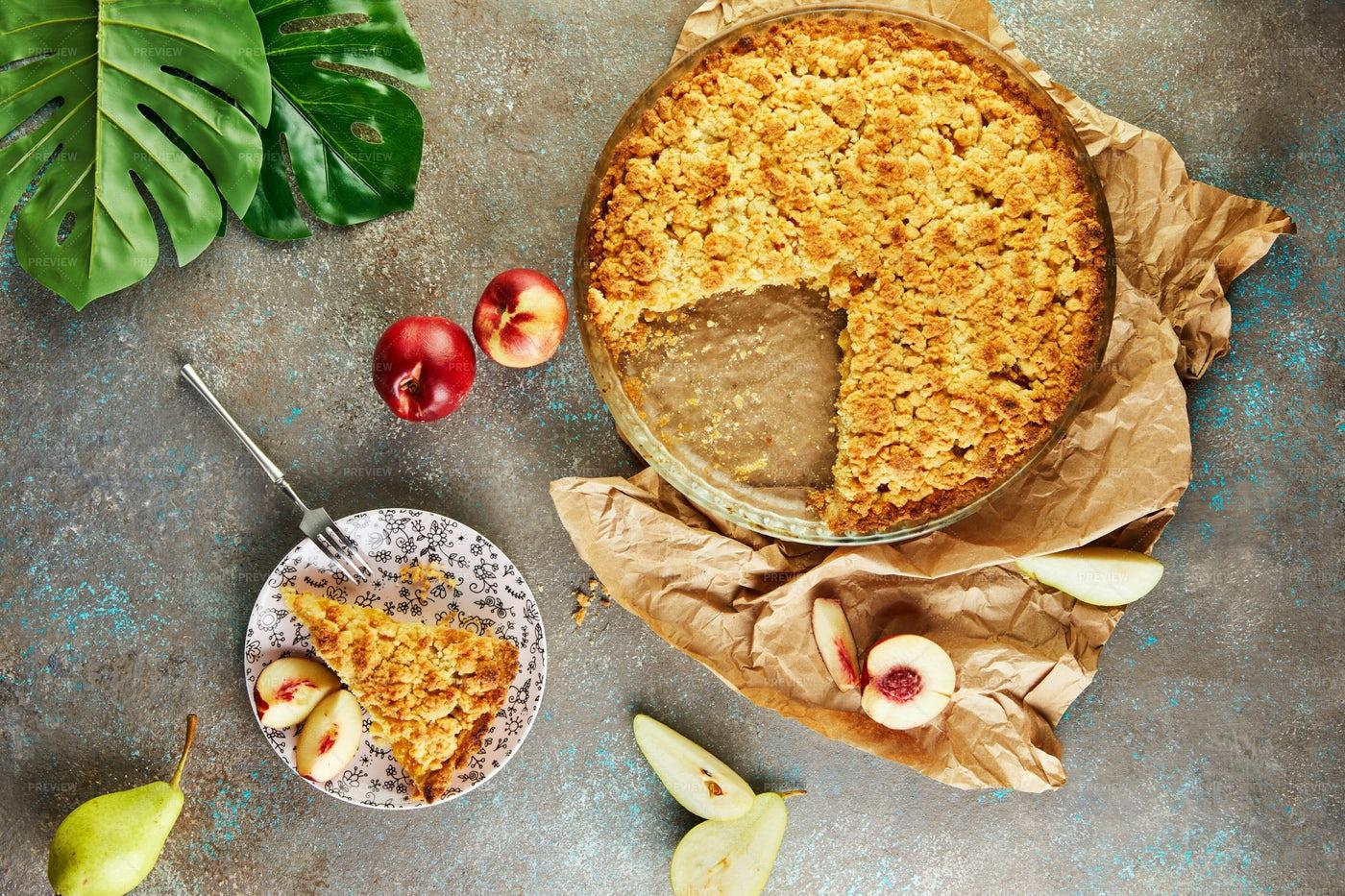 Peach And Pear Pie: Stock Photos