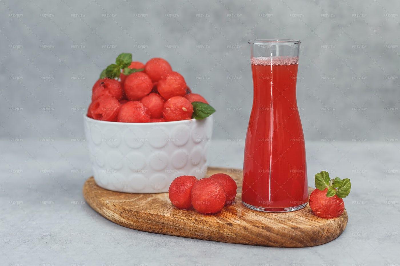 Watermelon Juice And Salad: Stock Photos