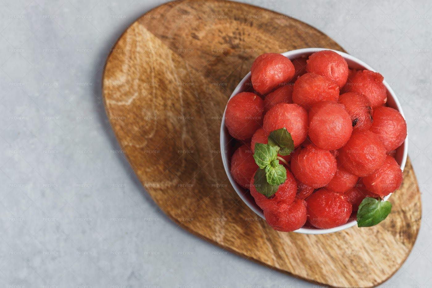 Salad With Watermelon Balls And Mint: Stock Photos