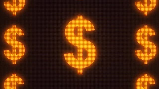 LED Dollar Signs: Stock Motion Graphics