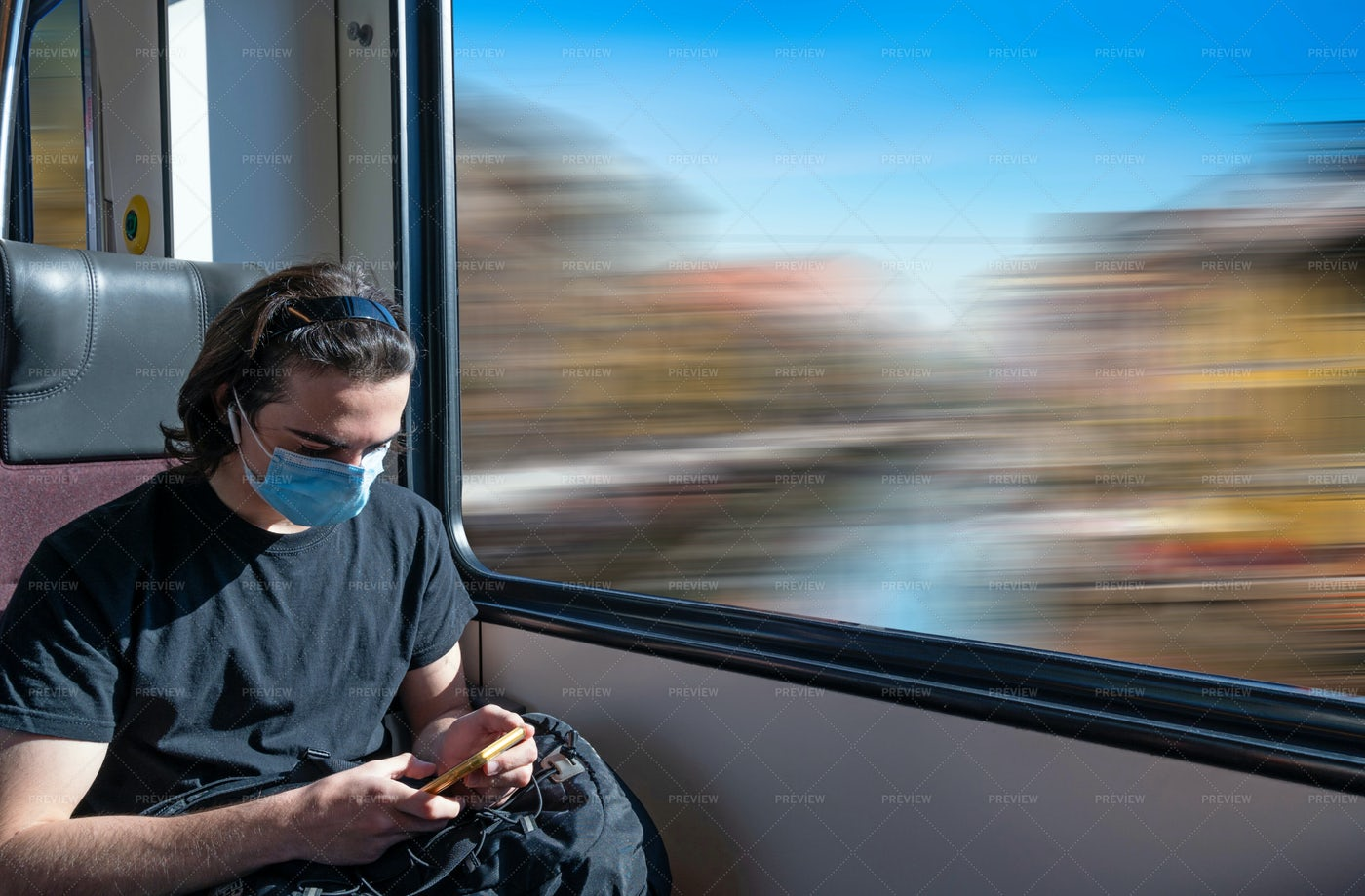 Guy Traveling On Train: Stock Photos