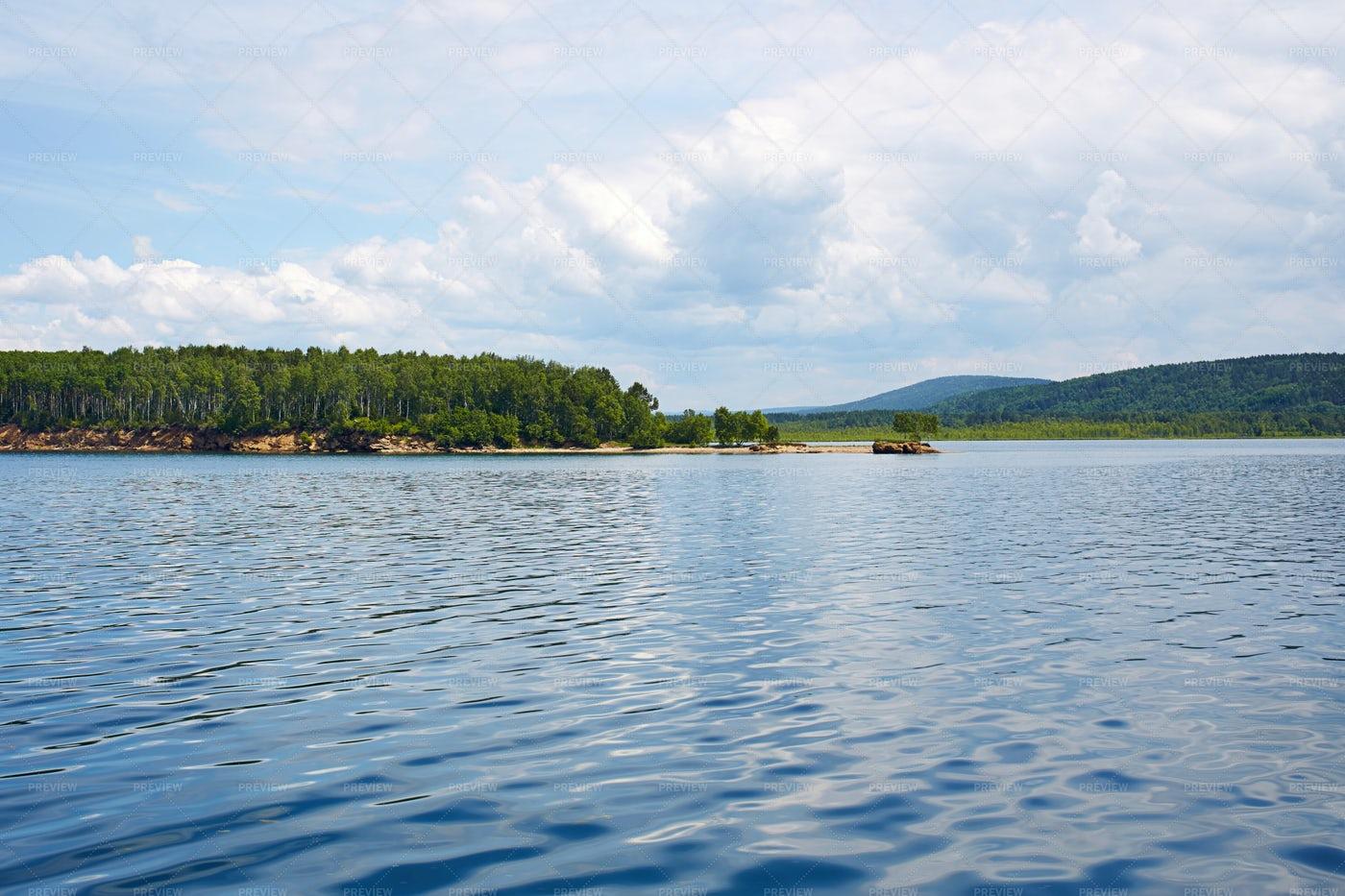 Angara River During Summer: Stock Photos