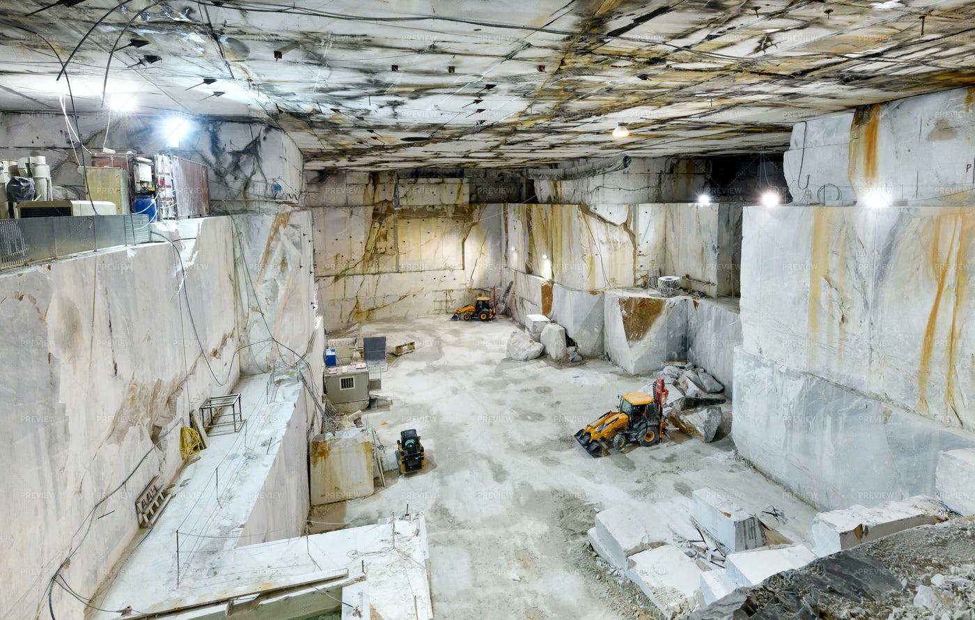 Inside A Carrara Marble Mine: Stock Photos