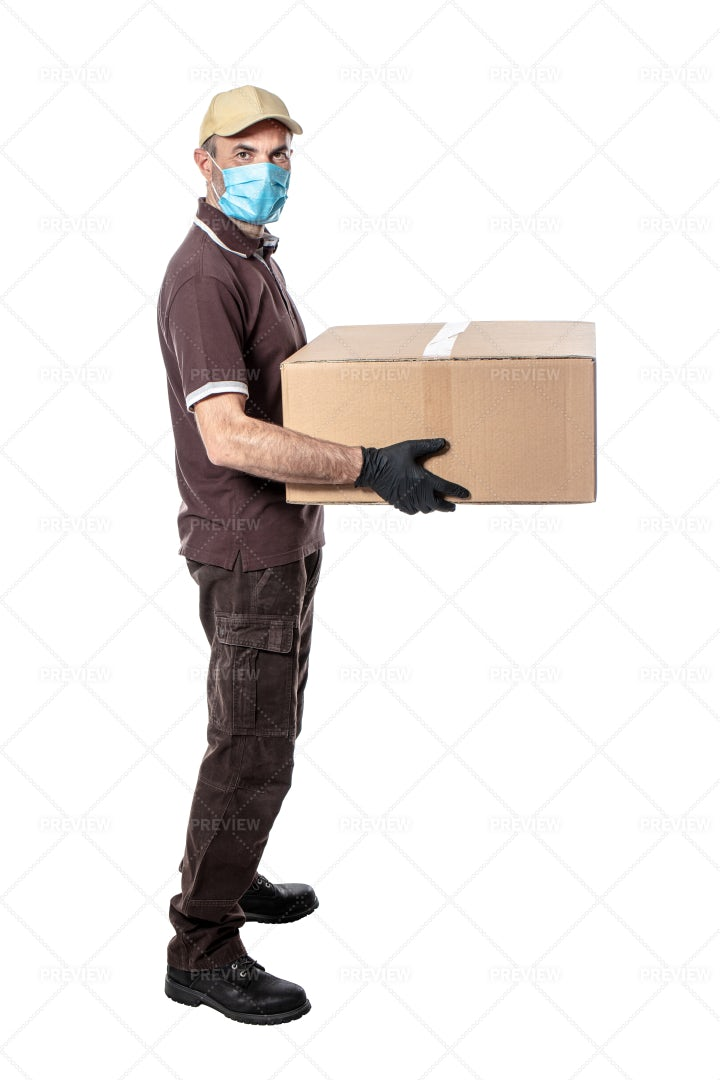 Masked Delivery Man: Stock Photos