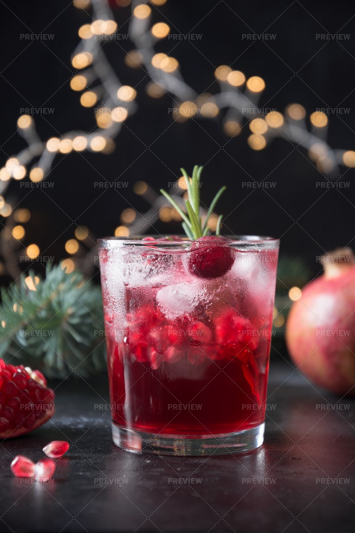 Pomegranate Cocktail At Christmas: Stock Photos