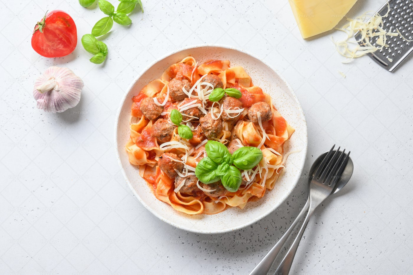 Plated Pasta With Meatballs: Stock Photos