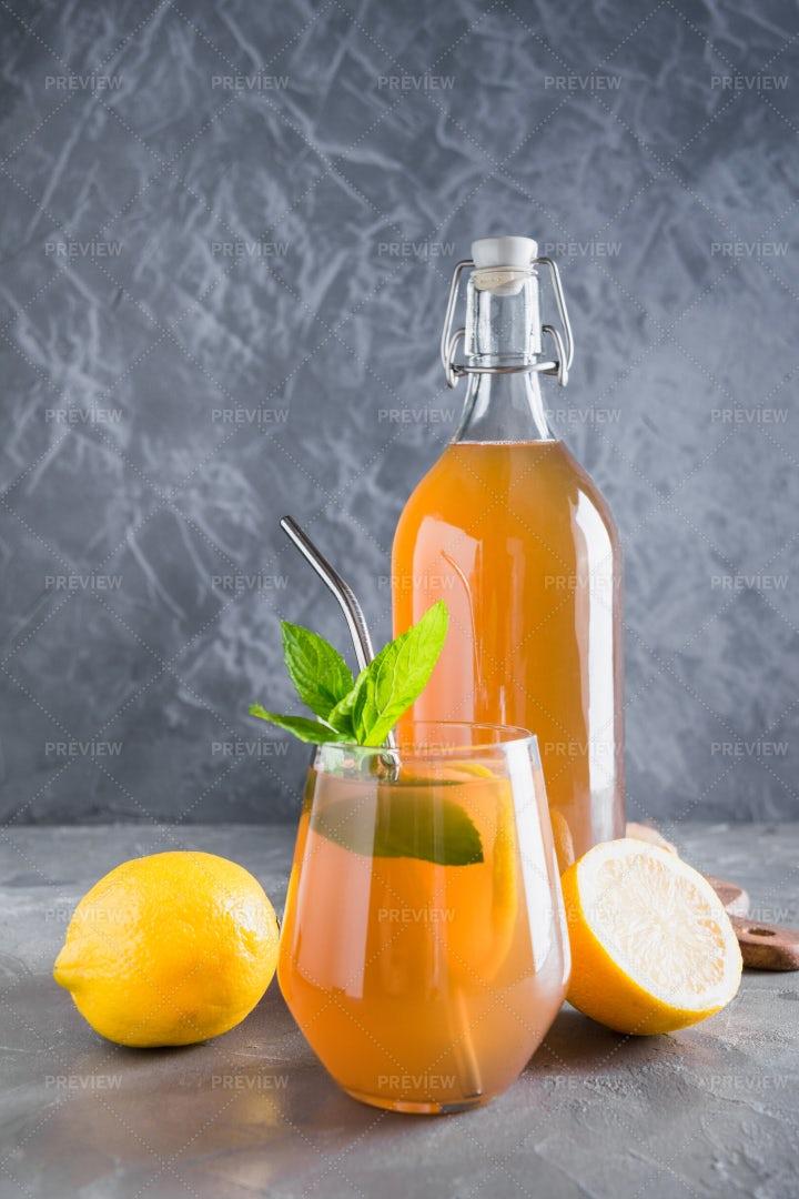 Bottle Of Kombucha: Stock Photos