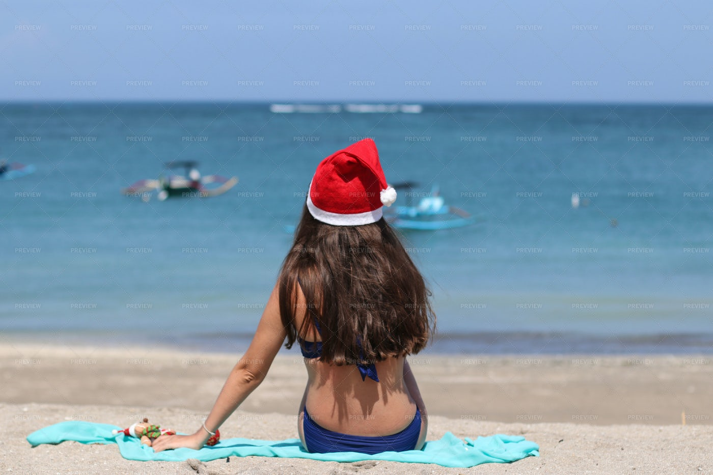Summer With Christmas Hat: Stock Photos