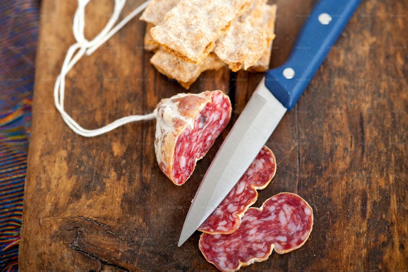 Italian Salami Slices: Stock Photos