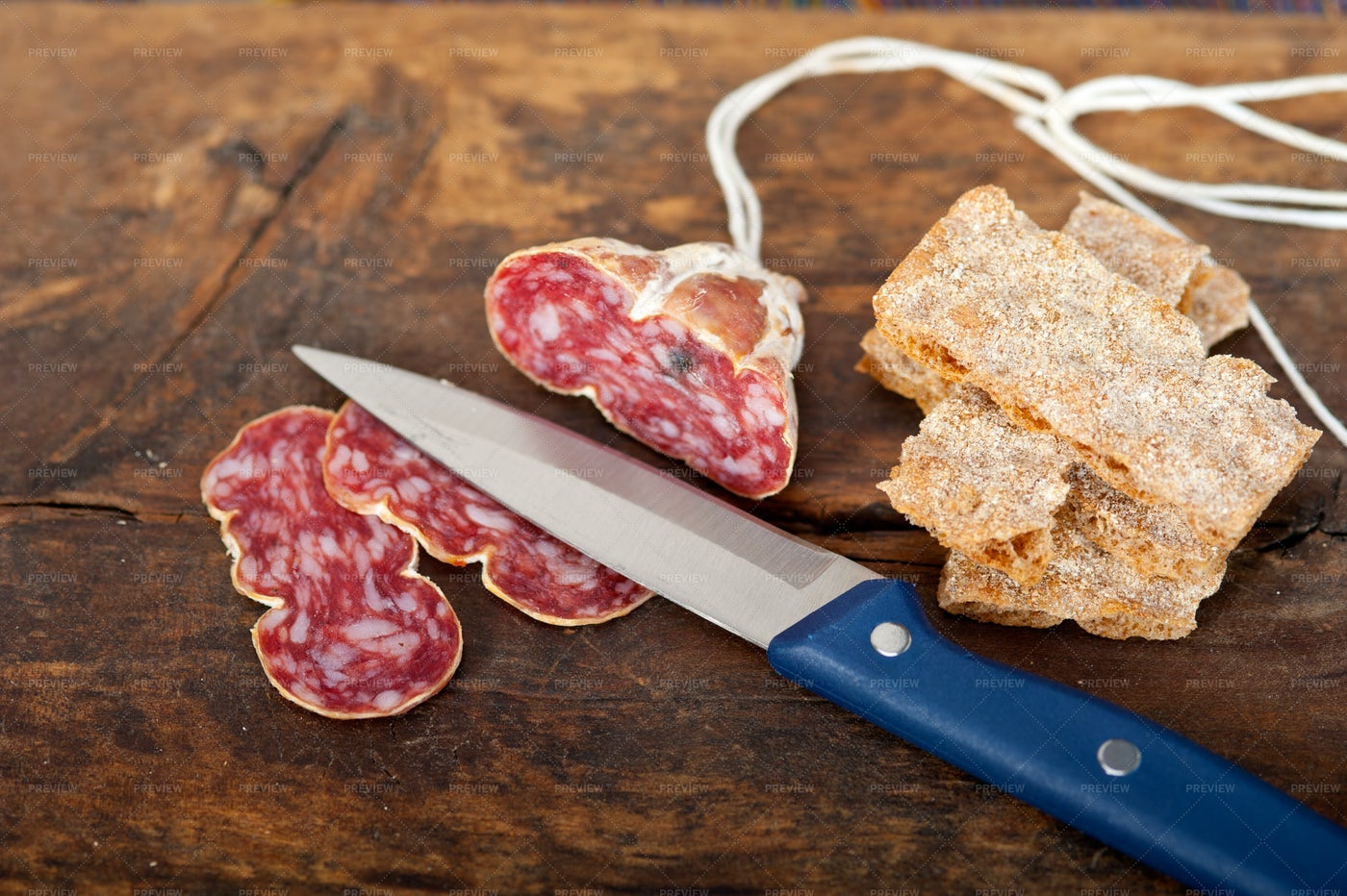 Italian Salame Sliced: Stock Photos