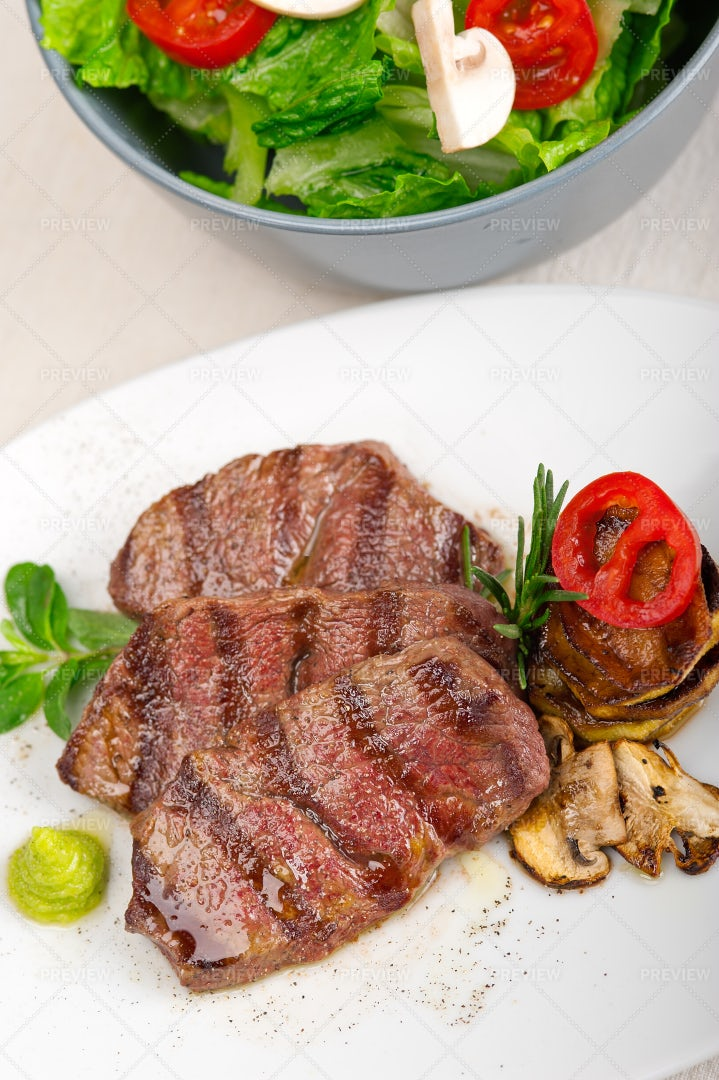 Kobe Miyazaky Beef Dish: Stock Photos