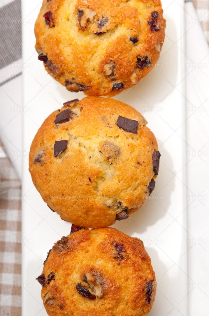 Chocolate And Raisins Muffins: Stock Photos