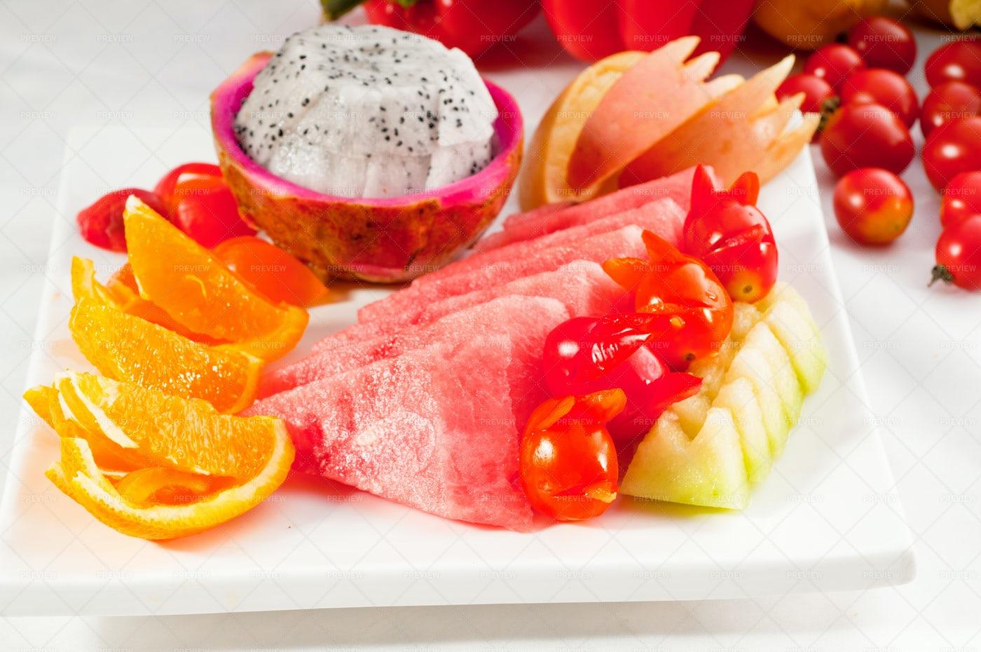 Mixed Plate Of  Fruits: Stock Photos