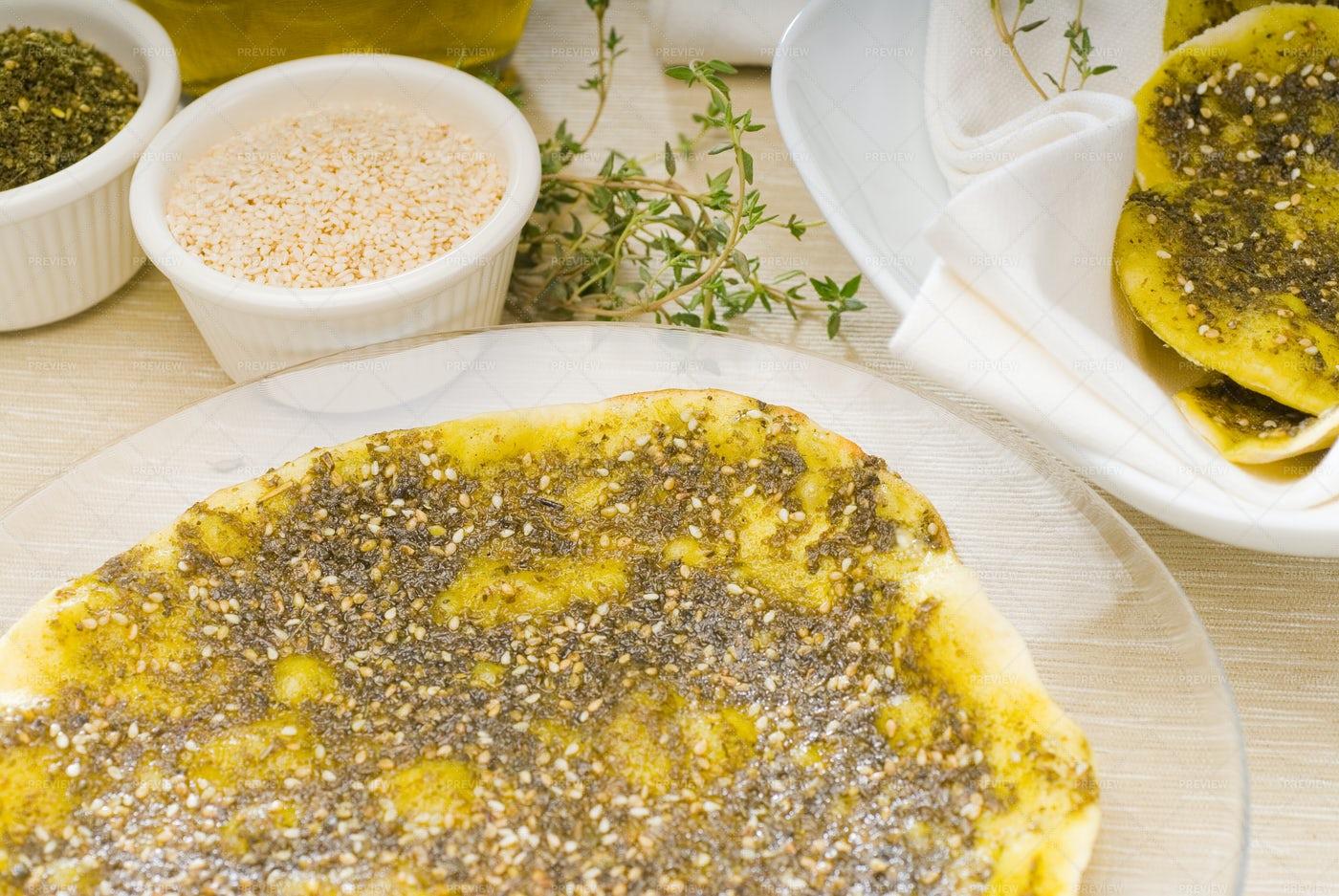 Lebanese Manouche Or Manoushe: Stock Photos