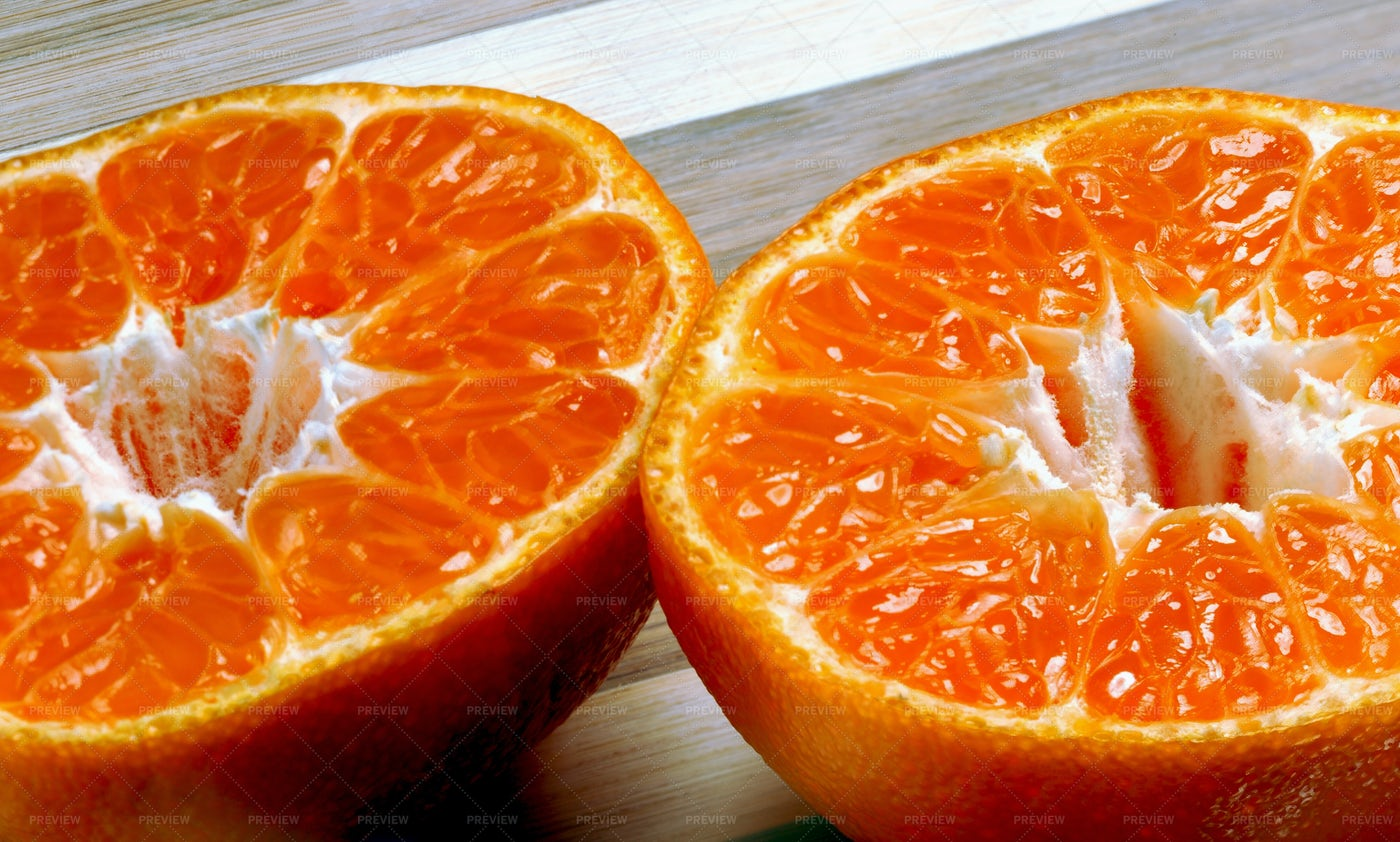 A Halved Mandarin: Stock Photos