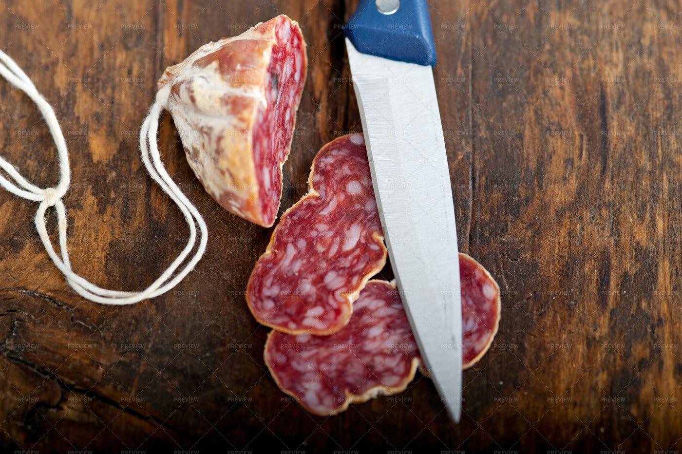 Sliced Italian Salami: Stock Photos