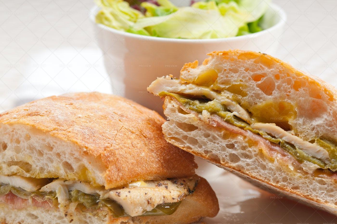Chicken Panini Sandwich: Stock Photos