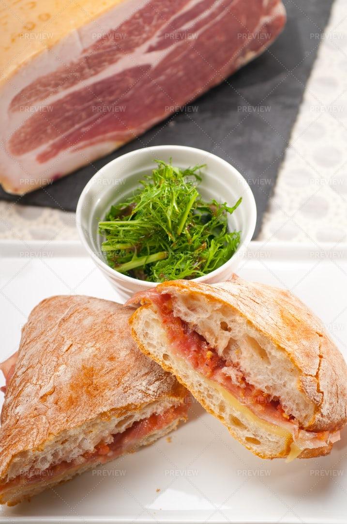 Panini Sandwich With Parma Ham: Stock Photos