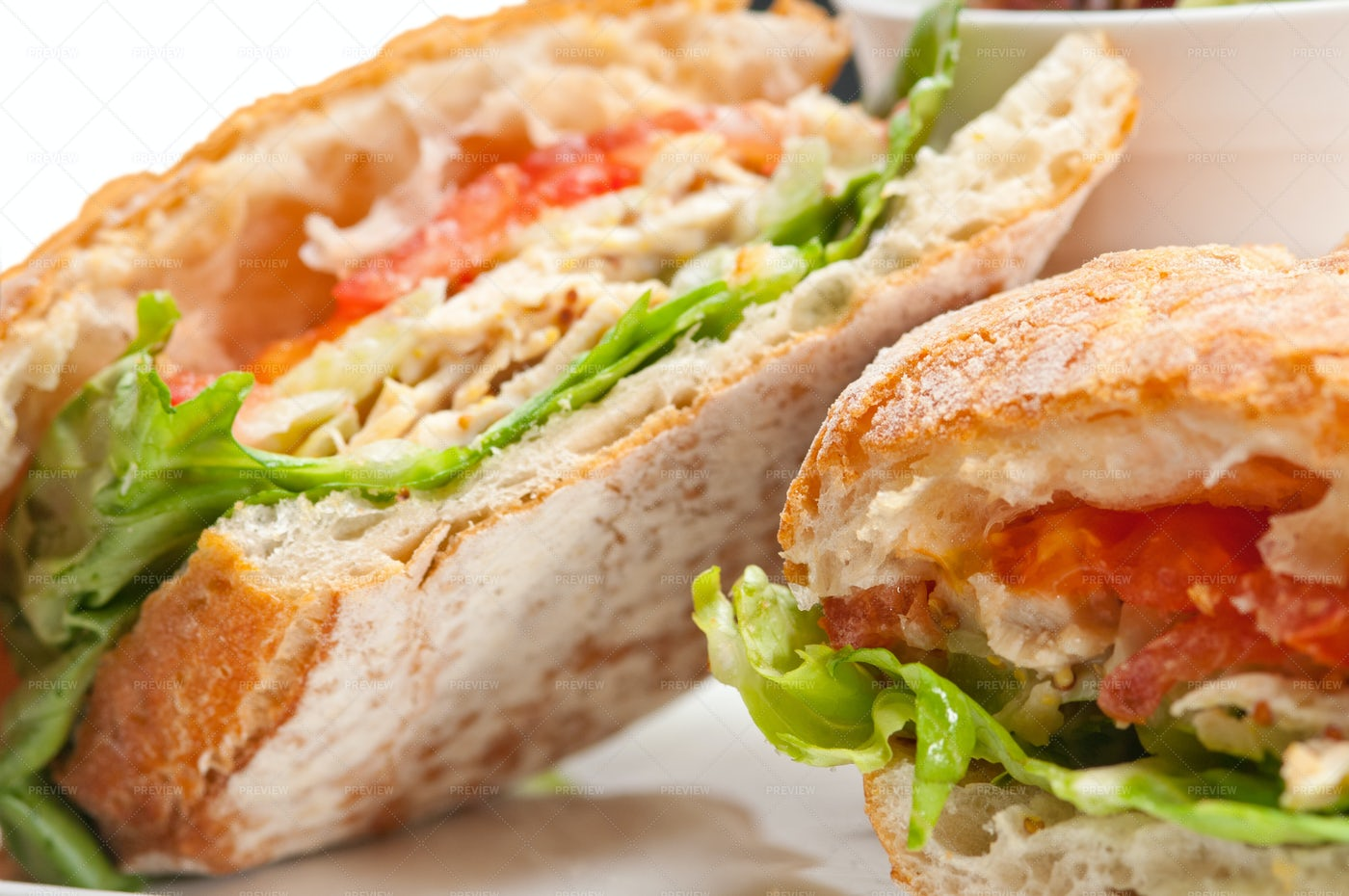 Ciabatta Panini Sandwich With Chicken: Stock Photos