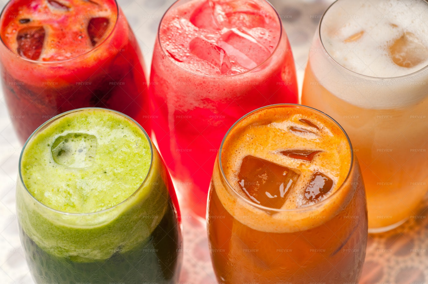 Selection Of Long Fruit Drinks: Stock Photos