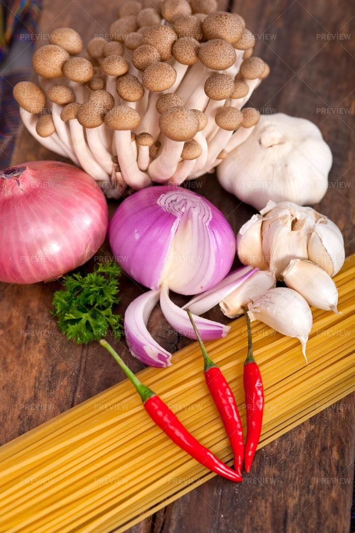 Mushroom Pasta Ingredients: Stock Photos
