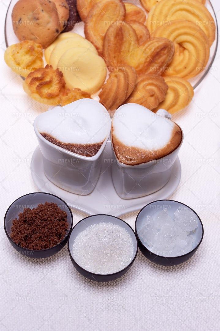 Heart-Shaped Espresso: Stock Photos