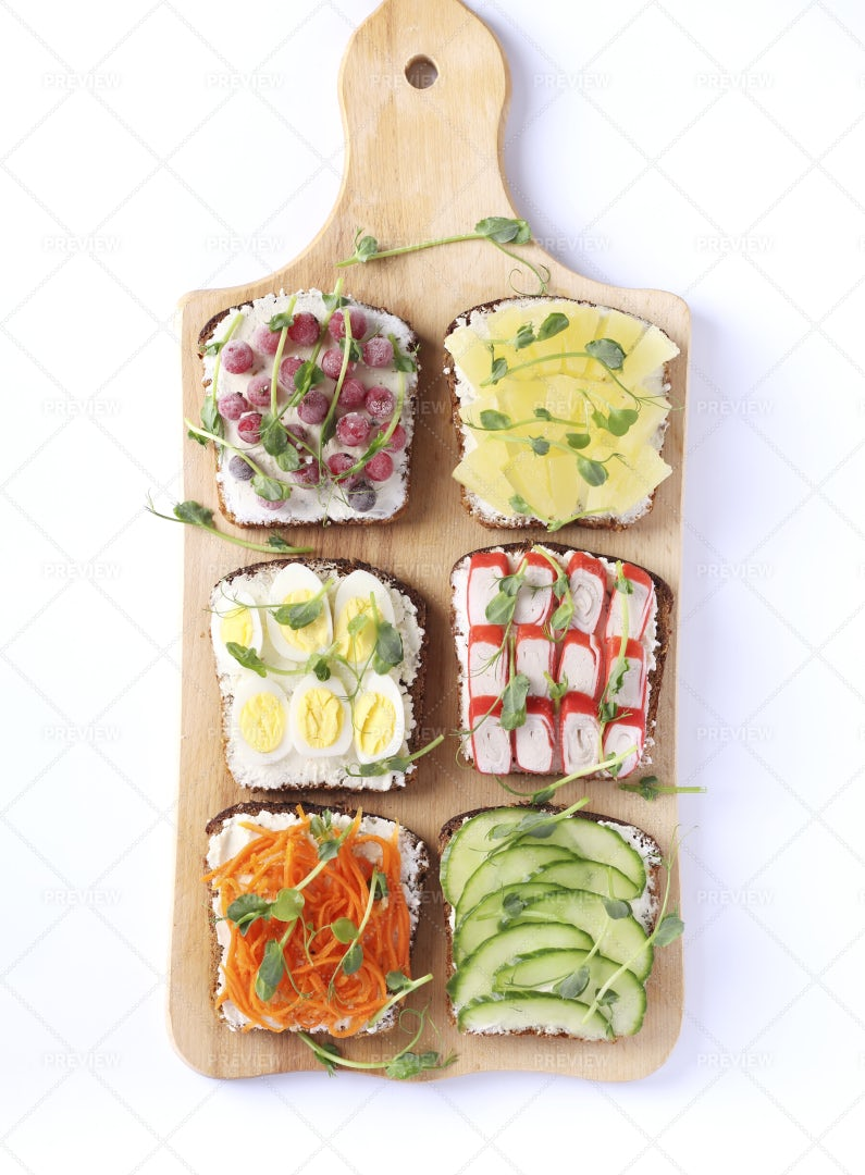 Variety Of Sandwiches On A Board: Stock Photos