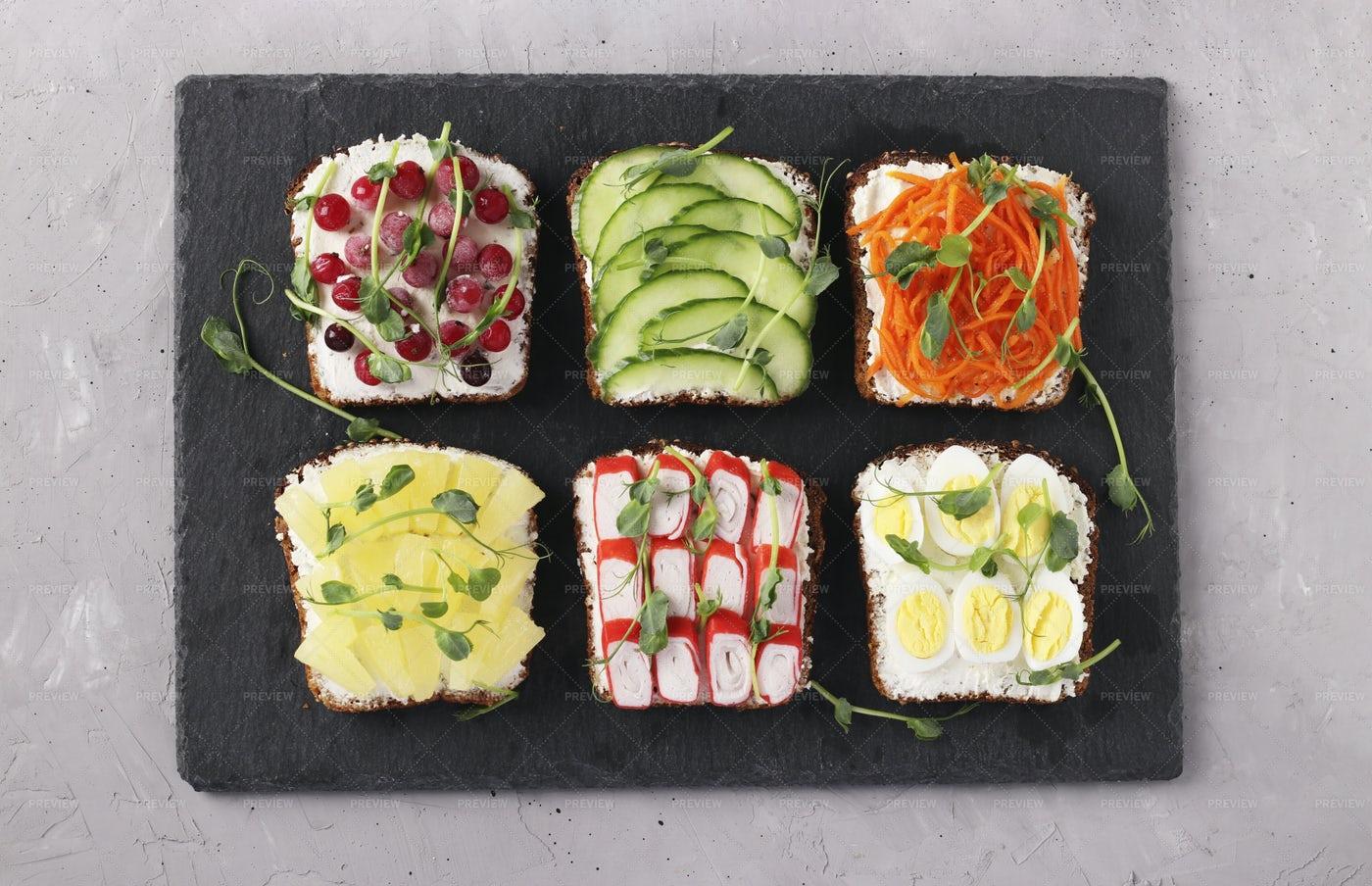 Six Healthy Toasts: Stock Photos