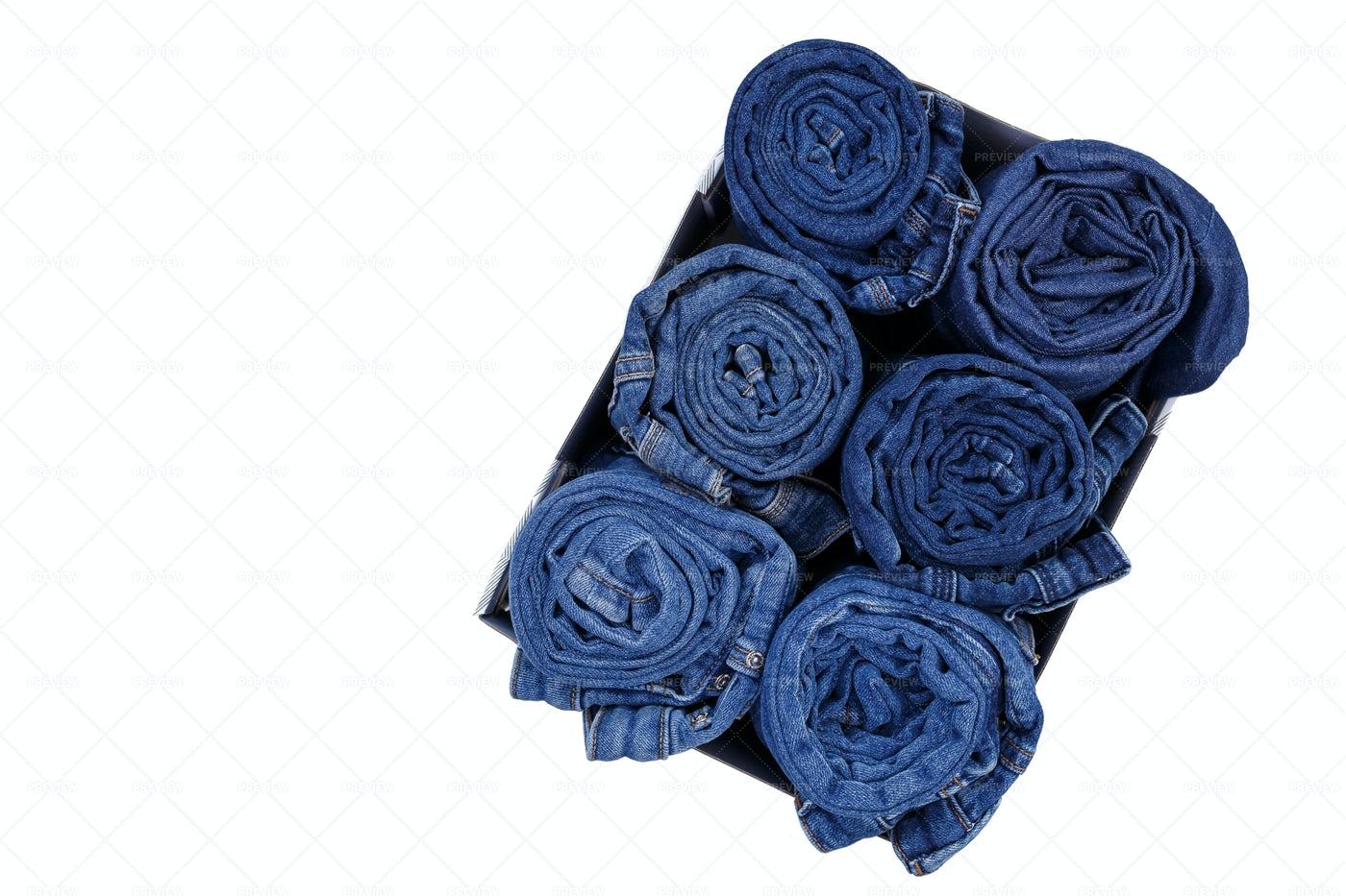Denim Jeans In Box: Stock Photos