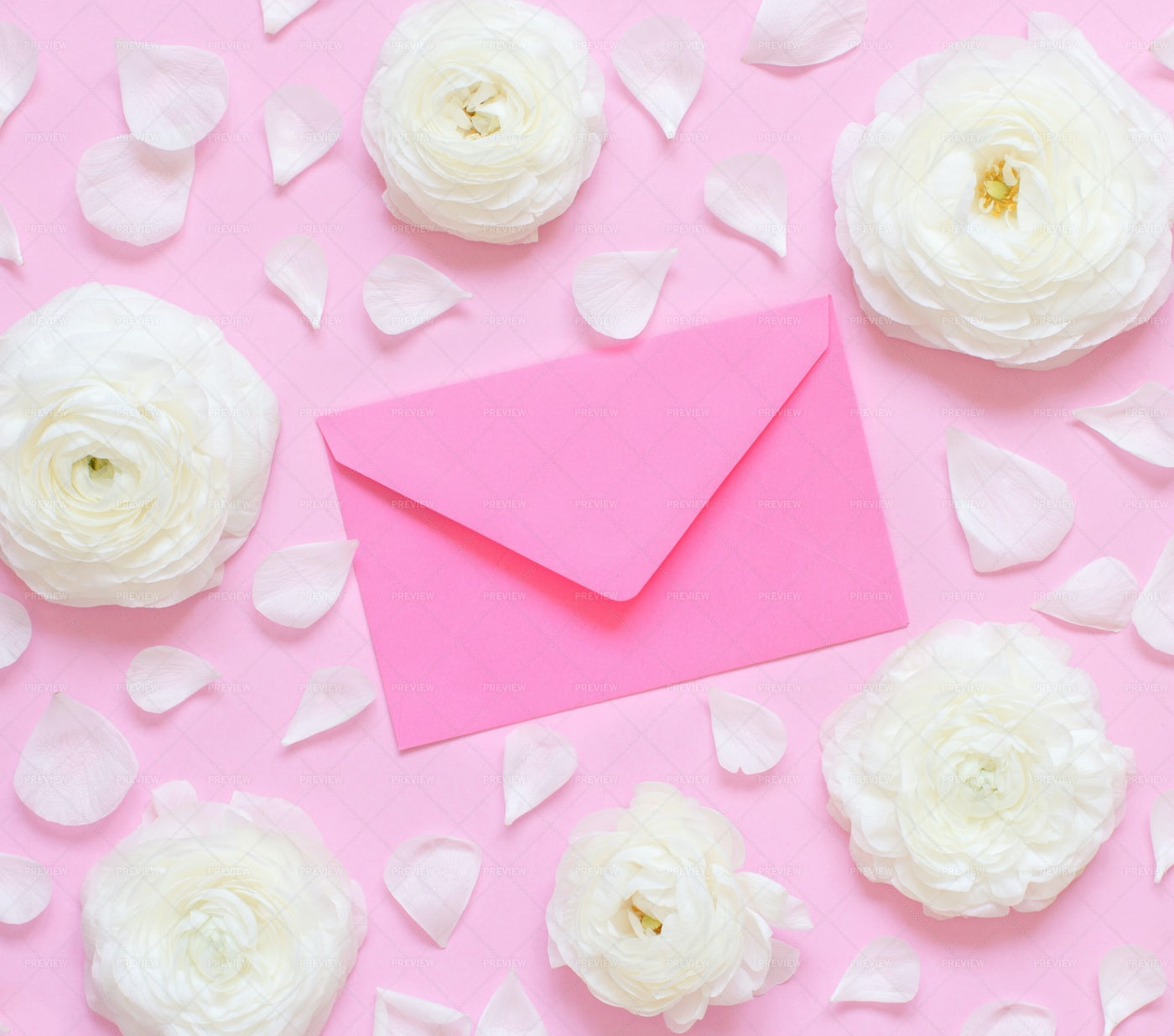 Flowers And Envelope: Stock Photos