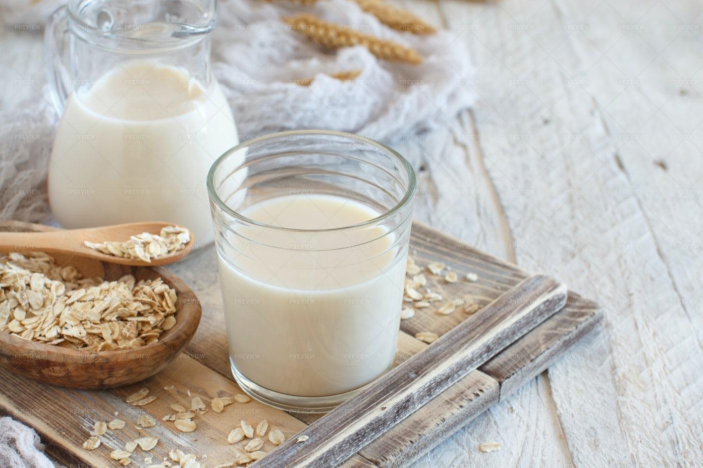 Glass Of Oat Milk: Stock Photos