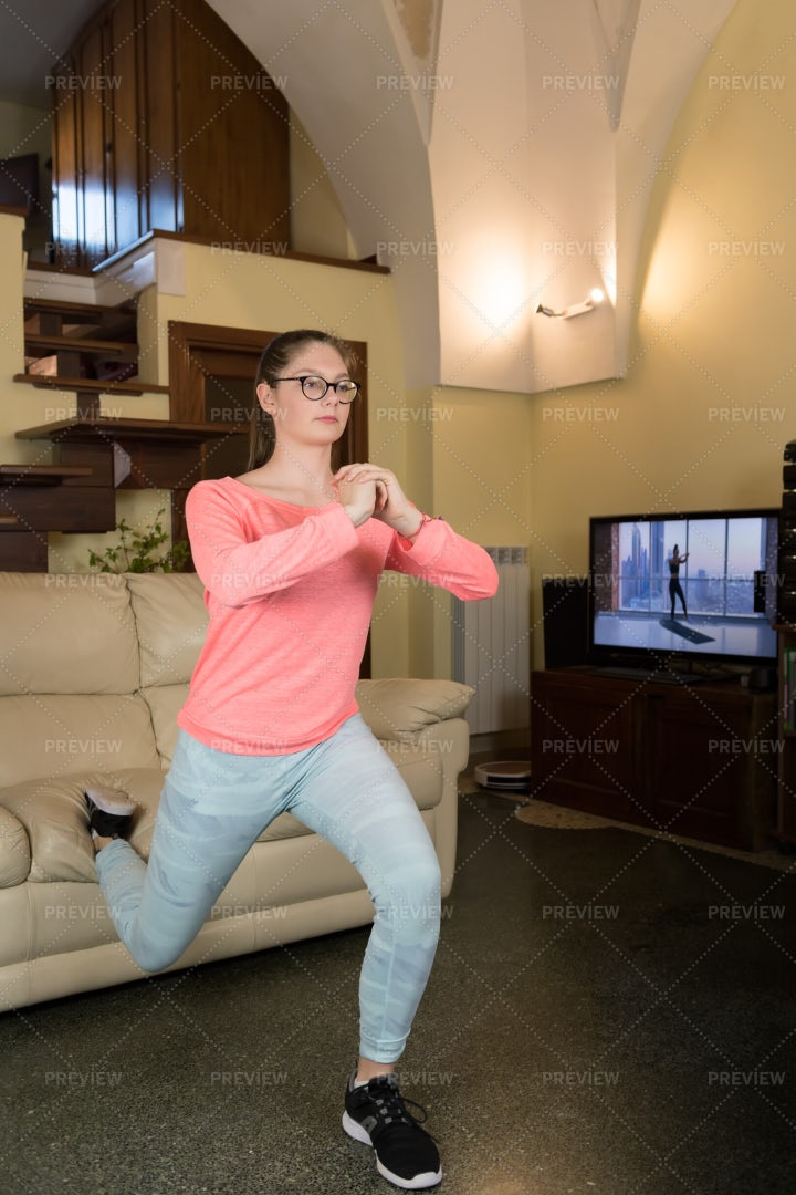 Doing Lunge Exercise: Stock Photos