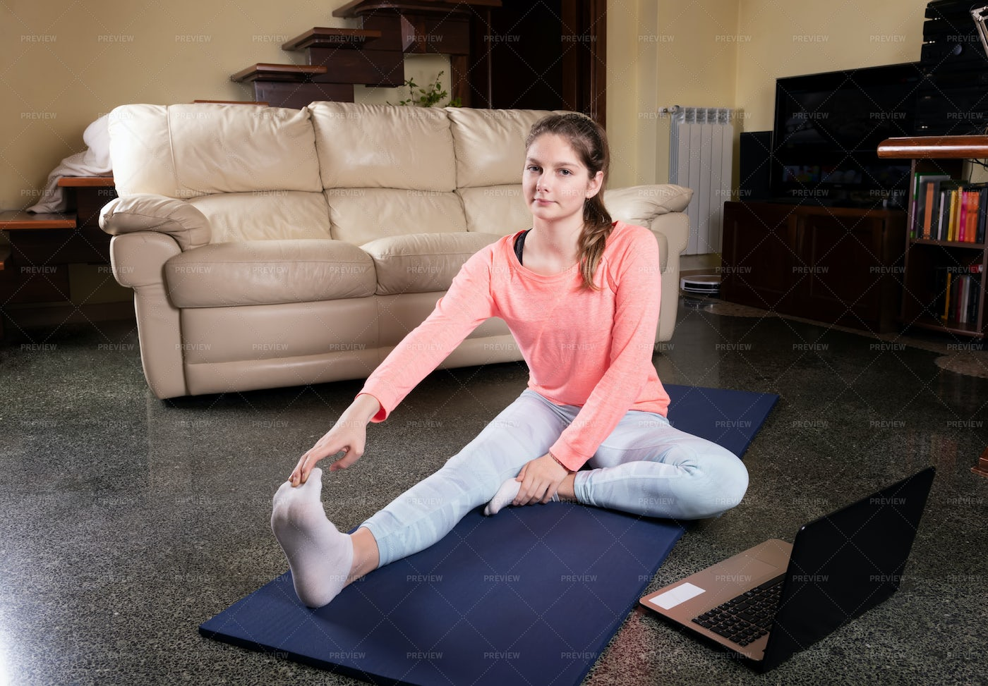 Doing Stretching At Home: Stock Photos
