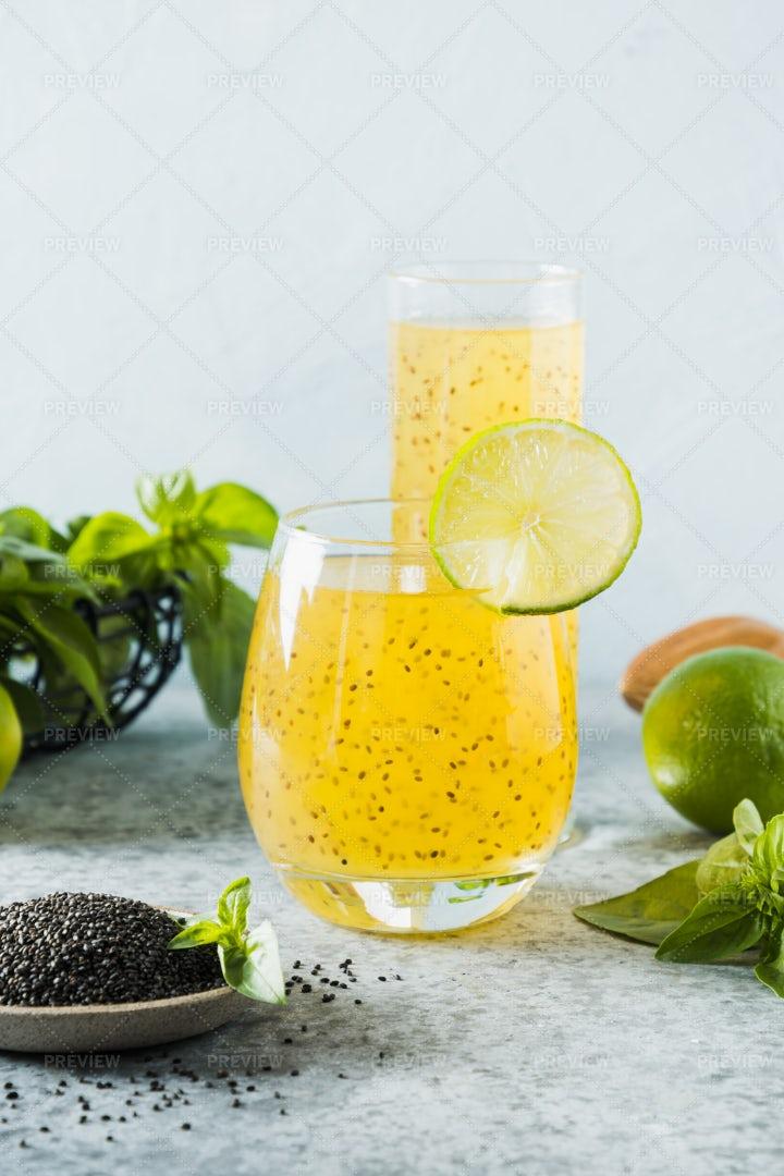 Orange Drink With Basil Seeds: Stock Photos