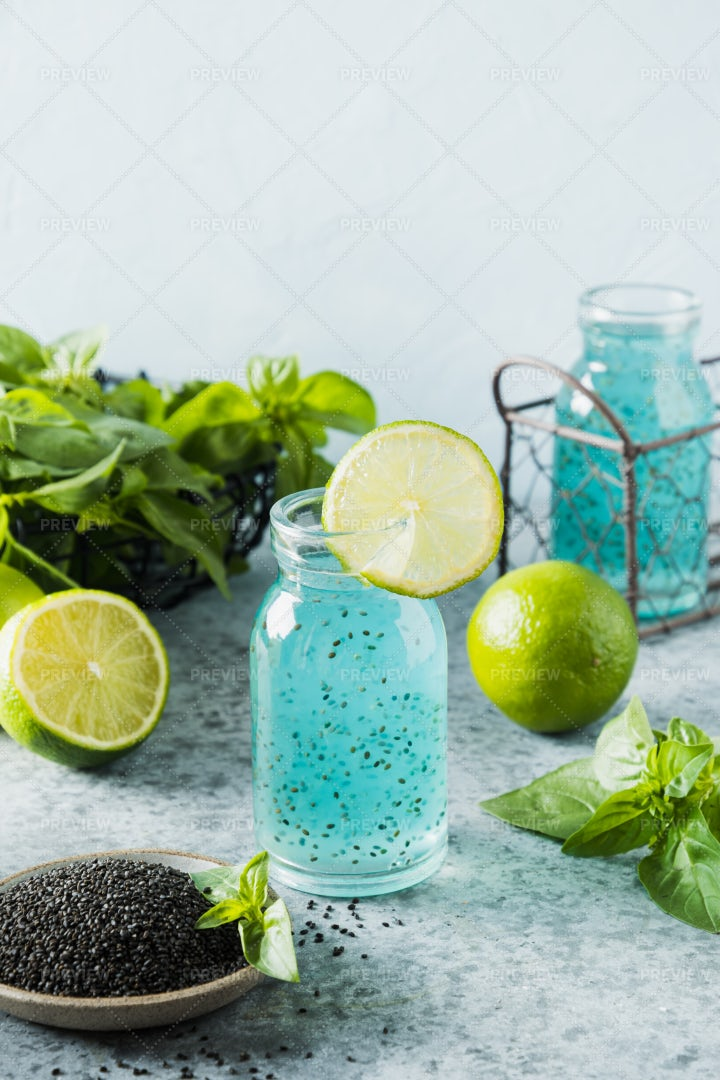 Blue Cocktail With Basil Seeds: Stock Photos