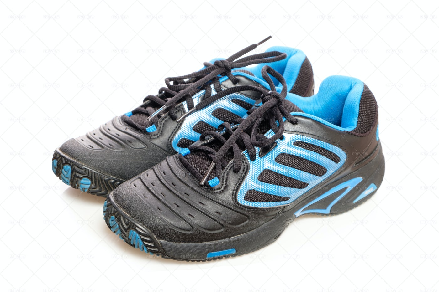Black And Blue Sneakers: Stock Photos