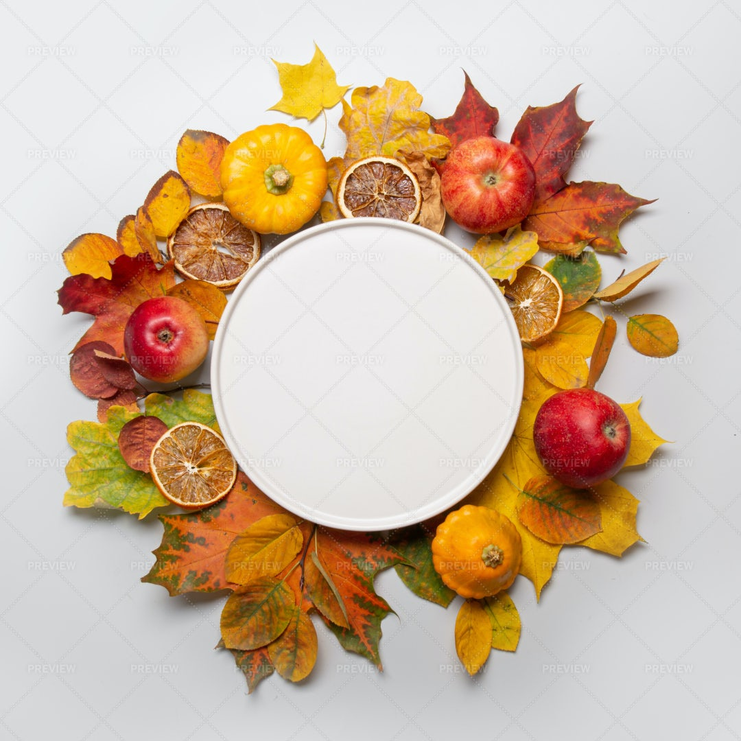Frame Of Apples And Colorful Leaves: Stock Photos