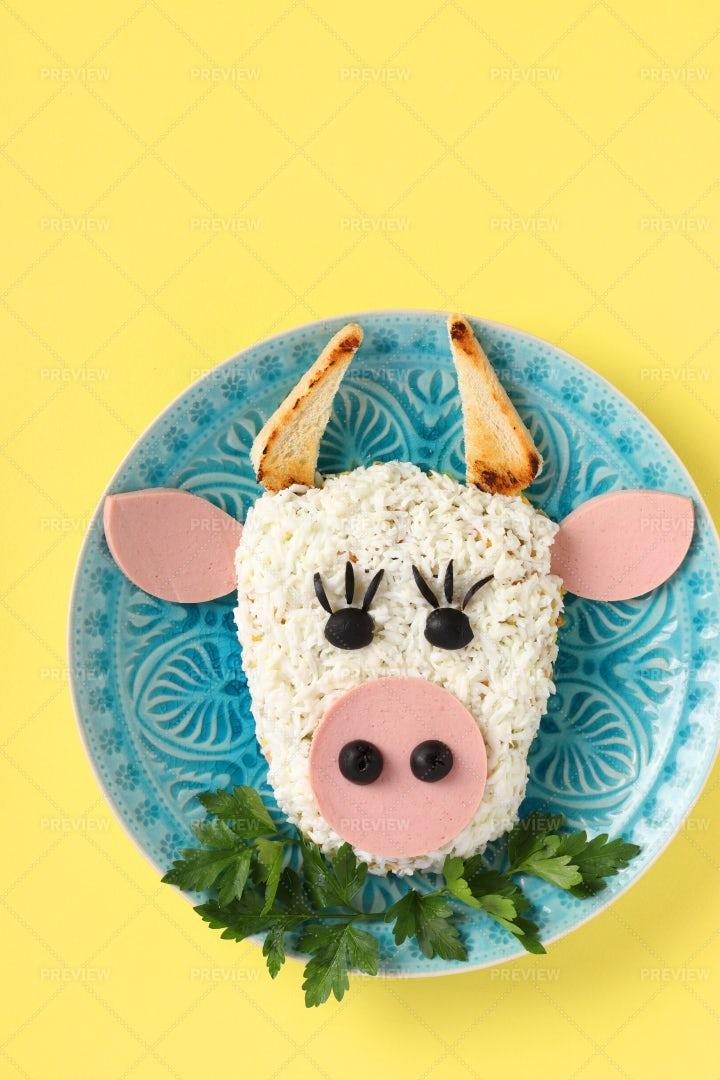 Festive Bull Salad: Stock Photos