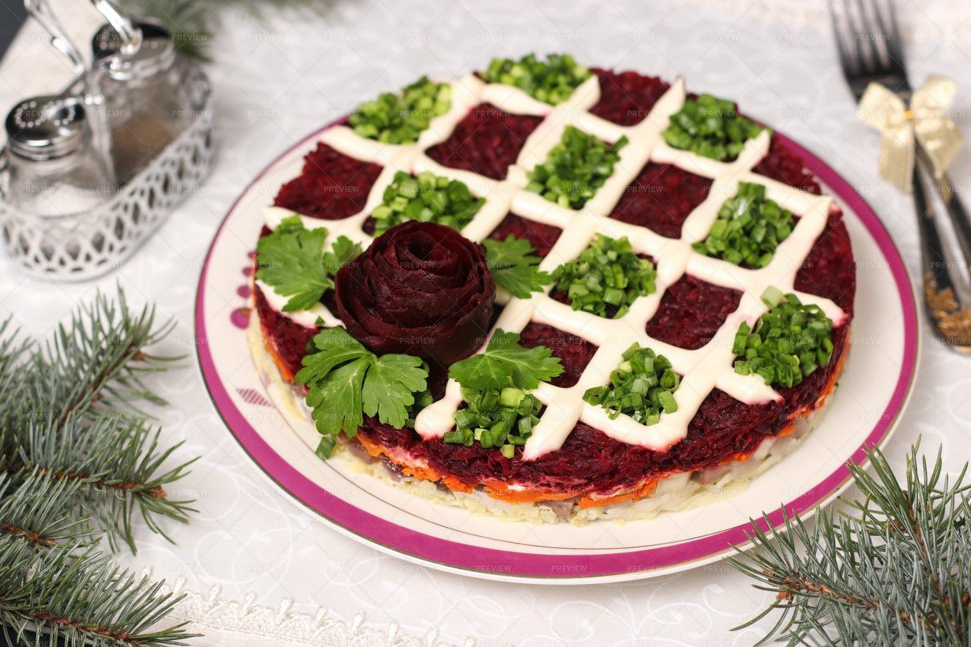 Russian Holiday Salad: Stock Photos