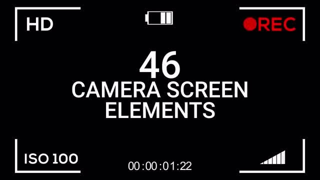 46 Camera Screen Elements: Stock Motion Graphics