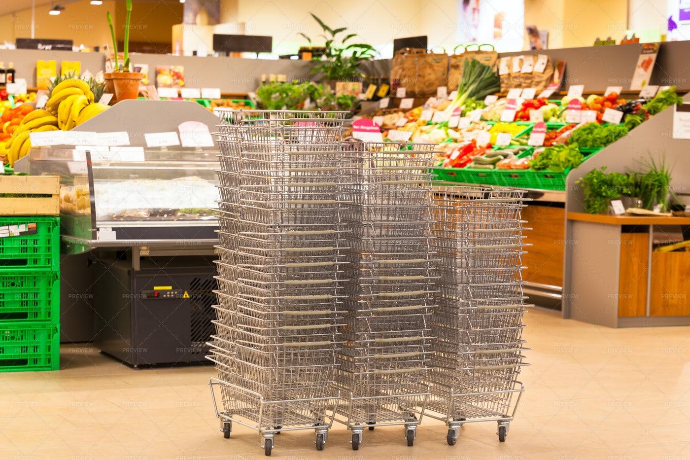 Shopping Basket Stacks: Stock Photos