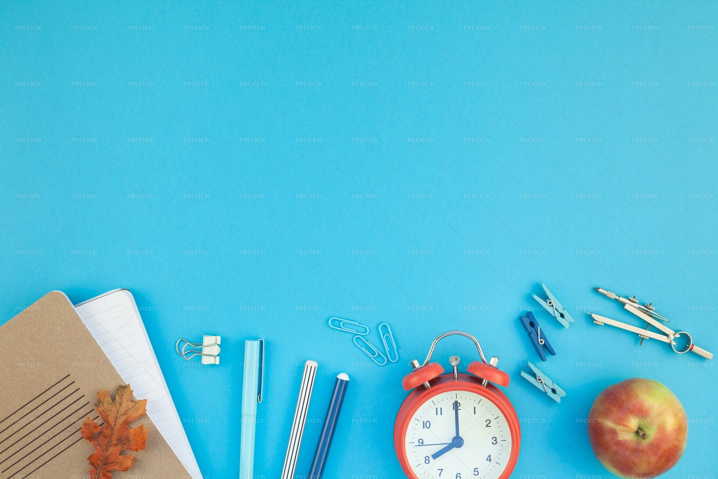 School Items On A Blue Background: Stock Photos