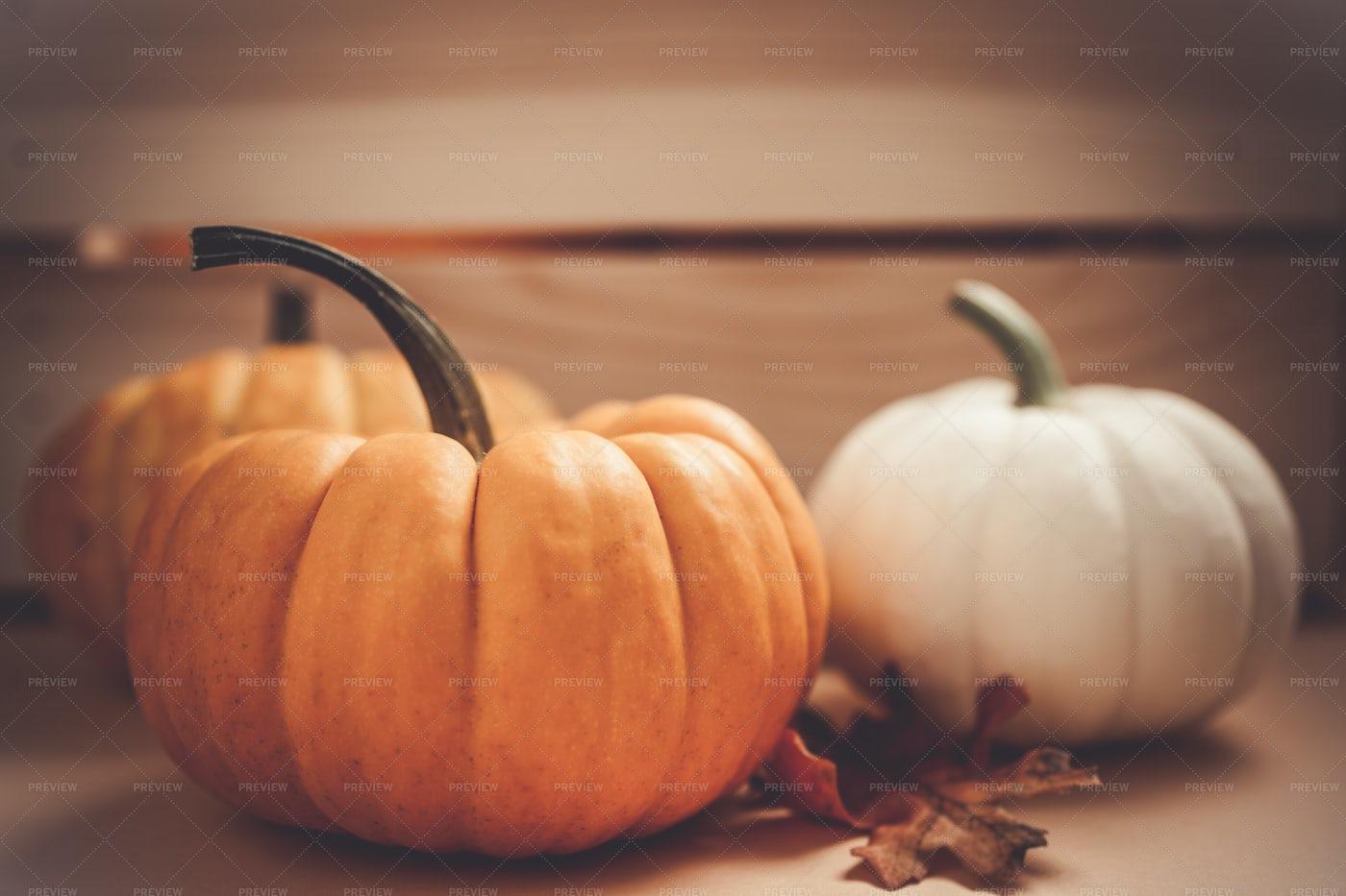 Three Pumpkins: Stock Photos