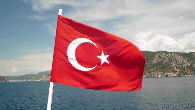 Turkish Flag Flutters: Stock Video