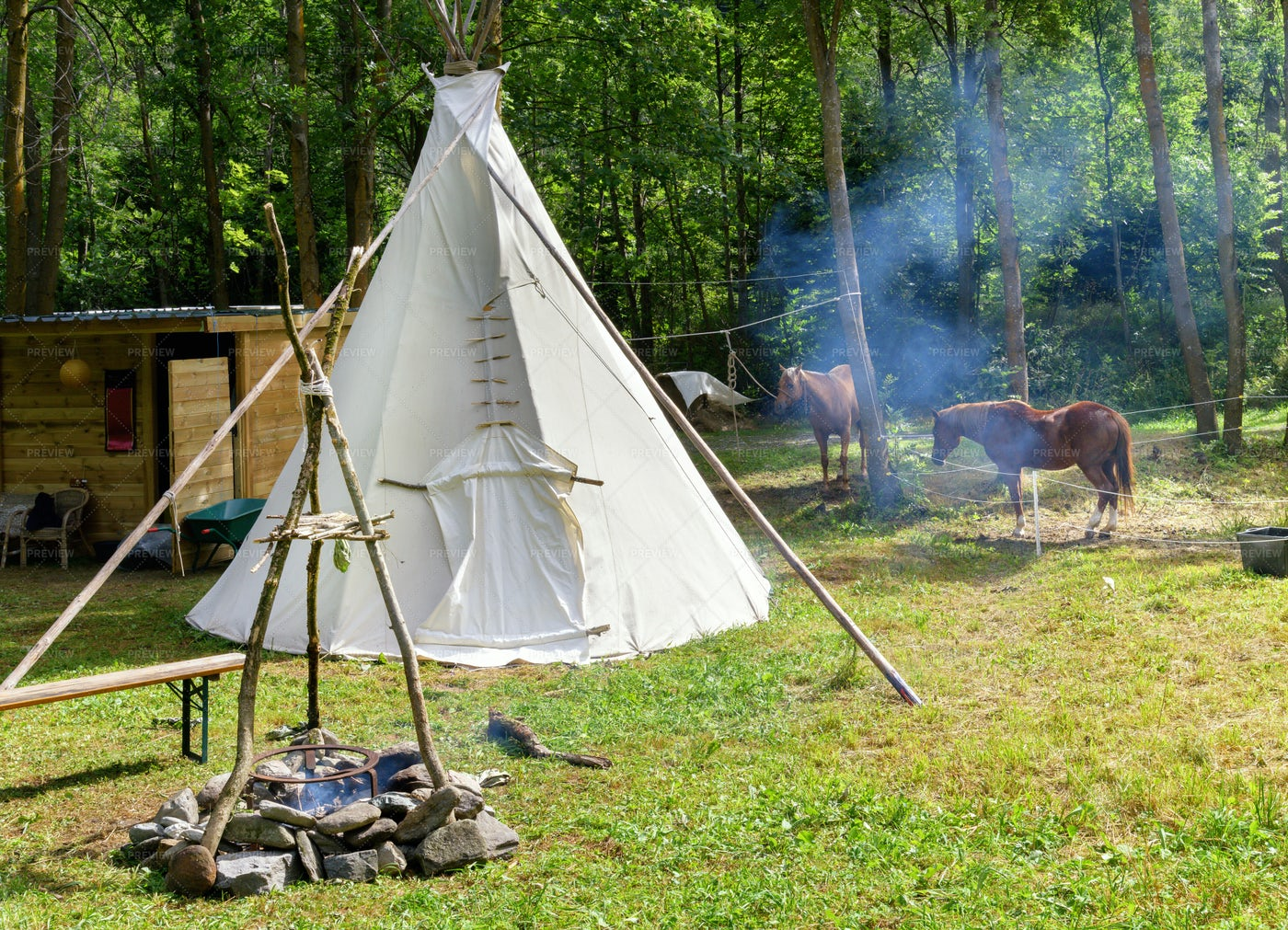 Tepee And Camp Fire: Stock Photos
